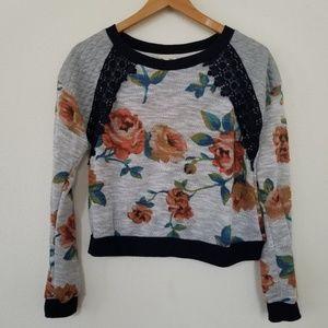 Kali women top sweatshirt floral lace M cropped